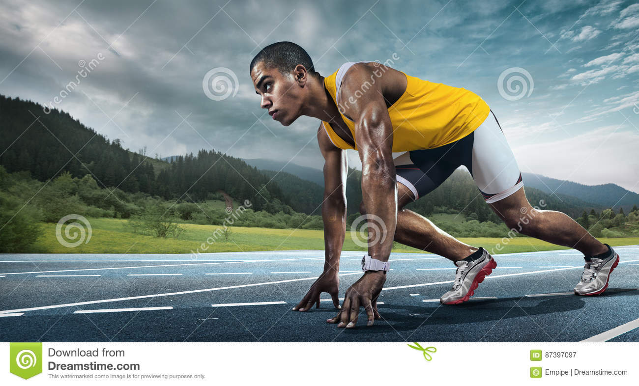 Download Runner on the start. stock image. Image of ambition, millennial - 87397097