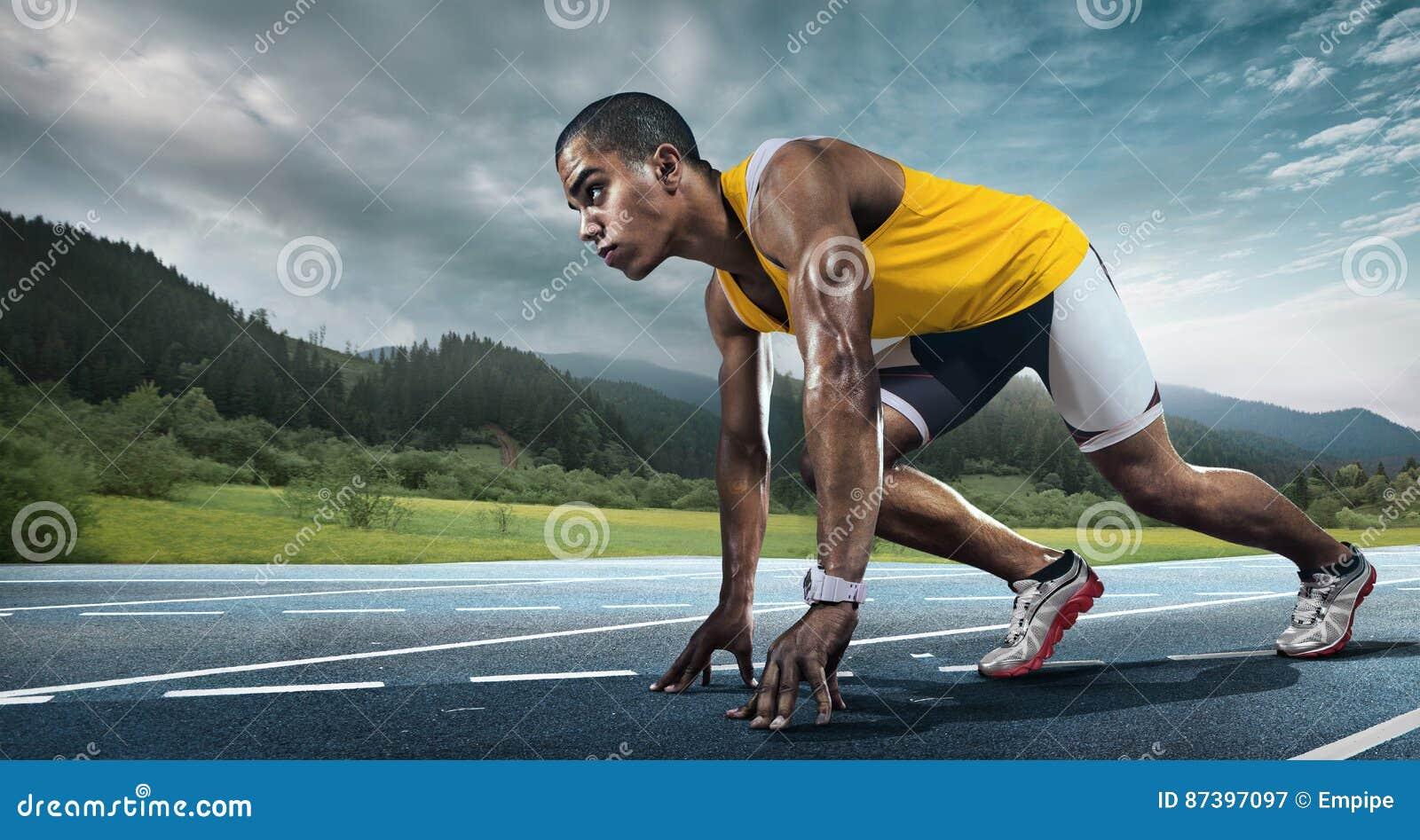 Runner on the start.