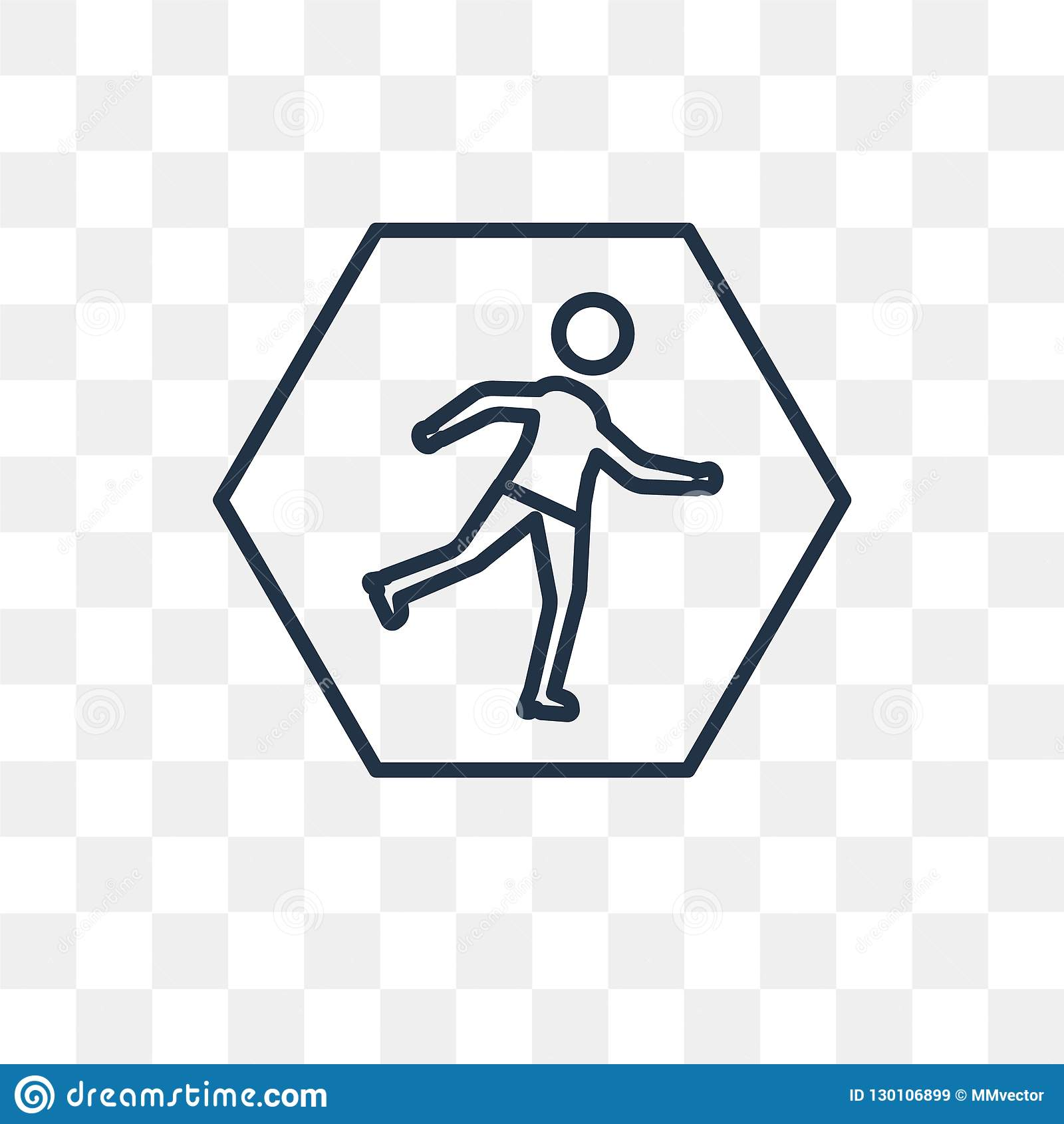 Runner vector icon isolated on transparent background, linear Ru