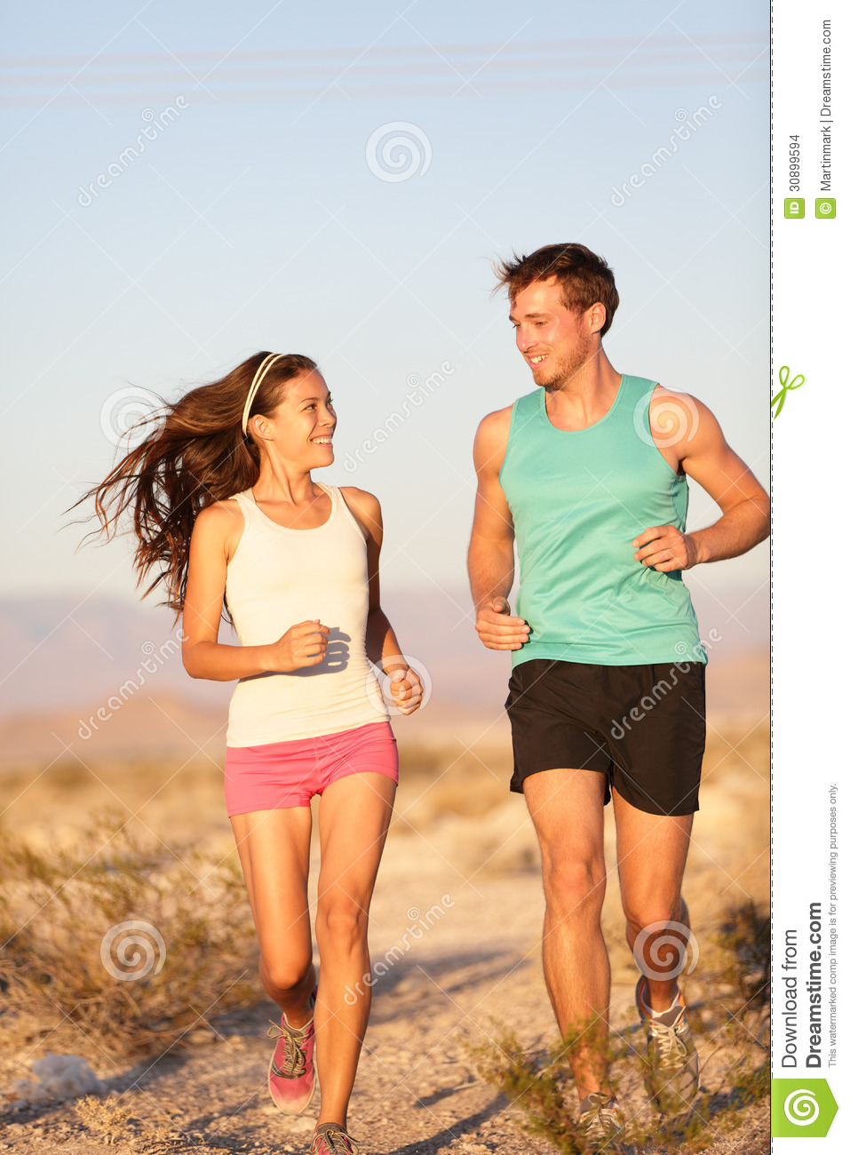 Runners - Active Fitness Couple Running Laughing Stock Images - Image