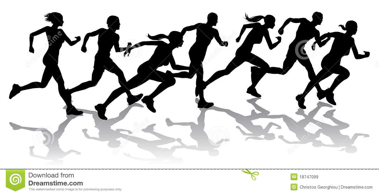 Runner Silhouette Clip Art Free Runners racing Royalty Free
