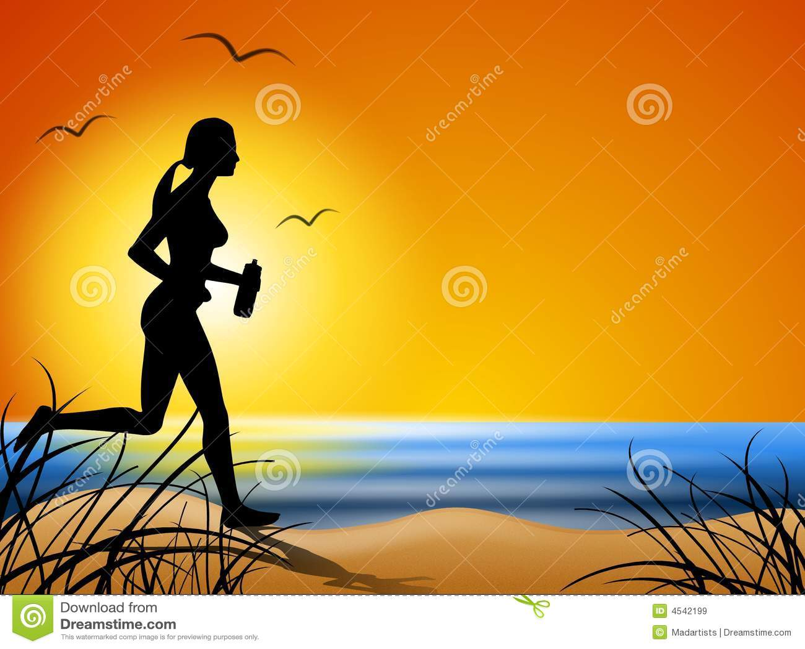 Running Along The Beach At Sunset Stock Illustration ...
