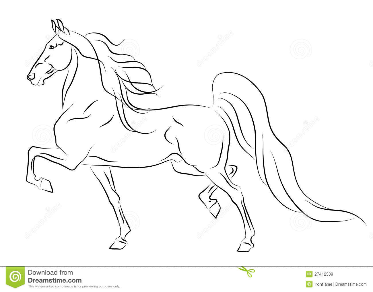 Running American Saddlebred Horse Sketch Stock Vector ...
