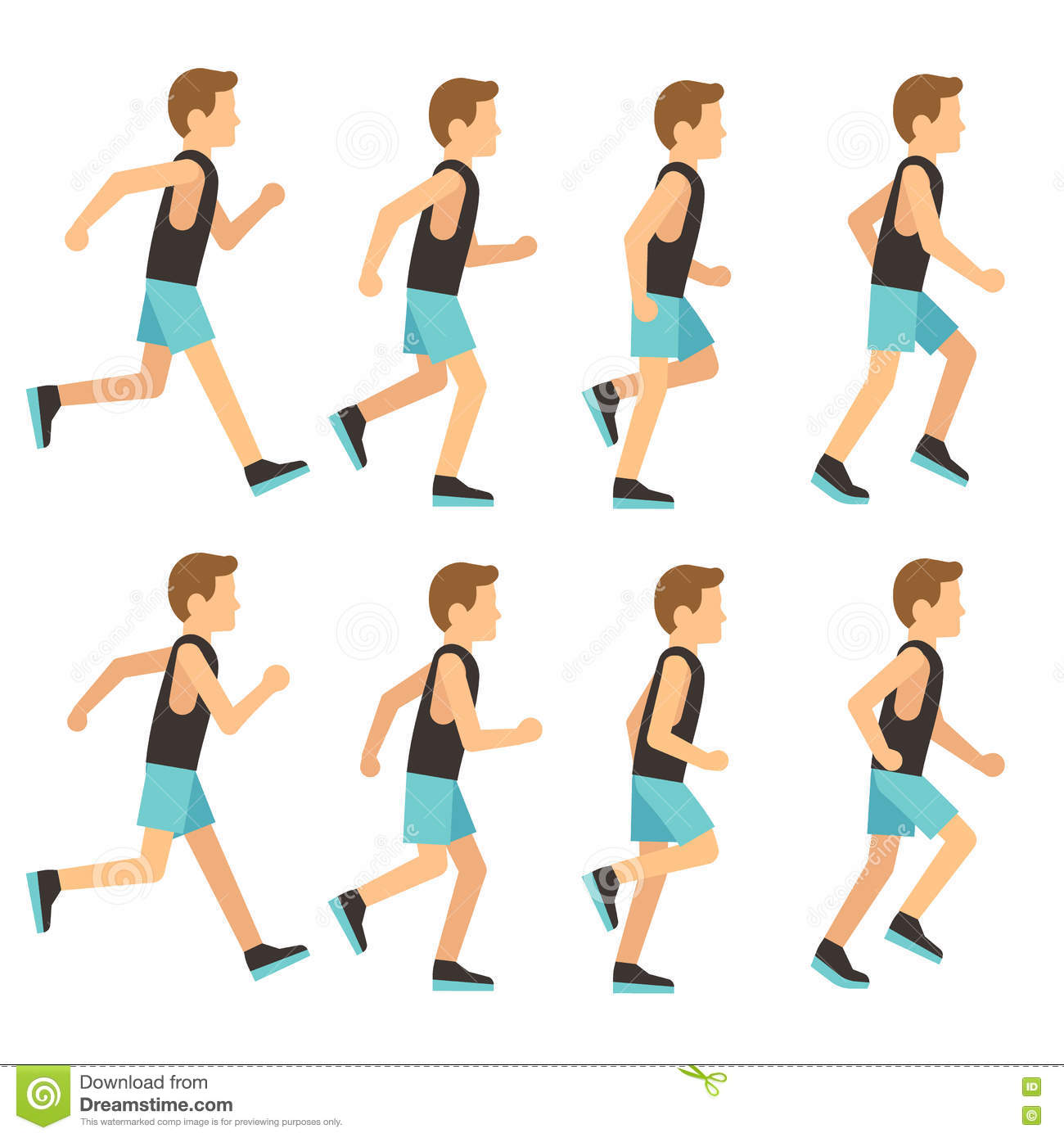 Running tracksuit in frame illustration athletic man sequence animation sprite vector vtwqtrE