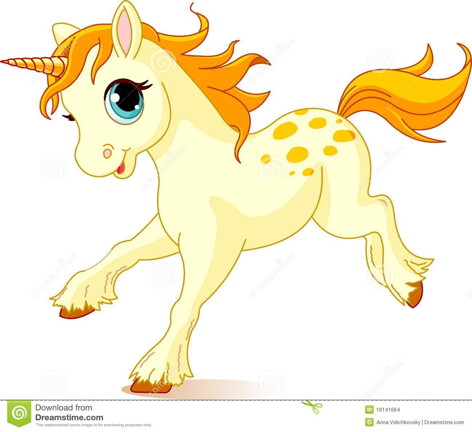 Running Baby Unicorn Stock Vector Illustration Of