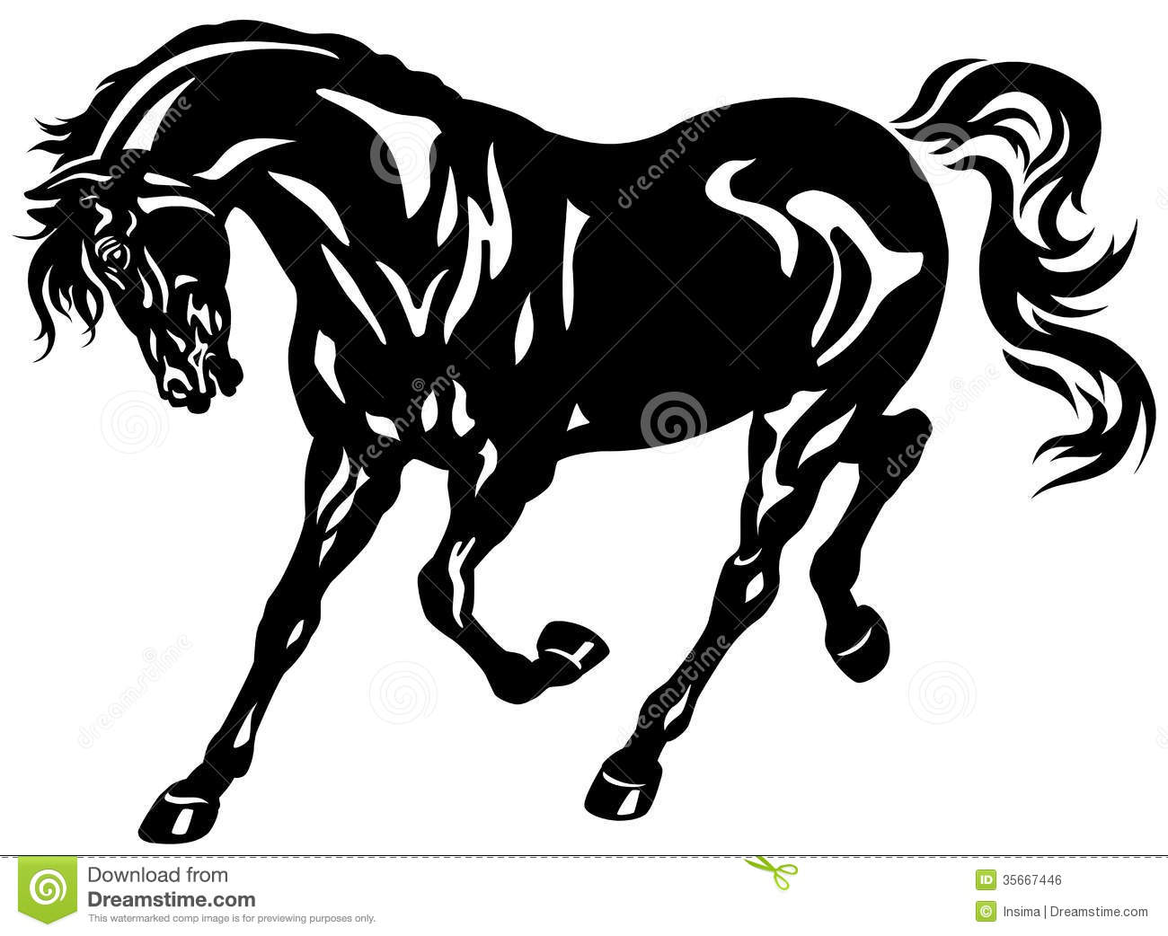 Running Black Horse Stock Vector Illustration Of Farm 35667446