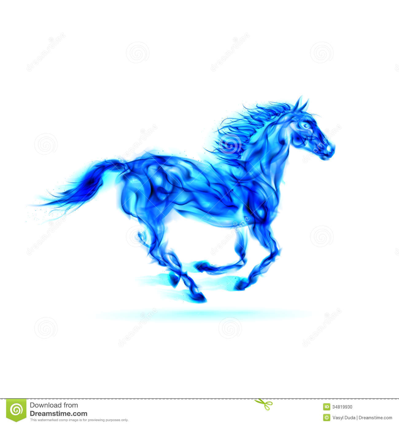 Running Blue Fire Horse. Stock Photo - Image: 34819930