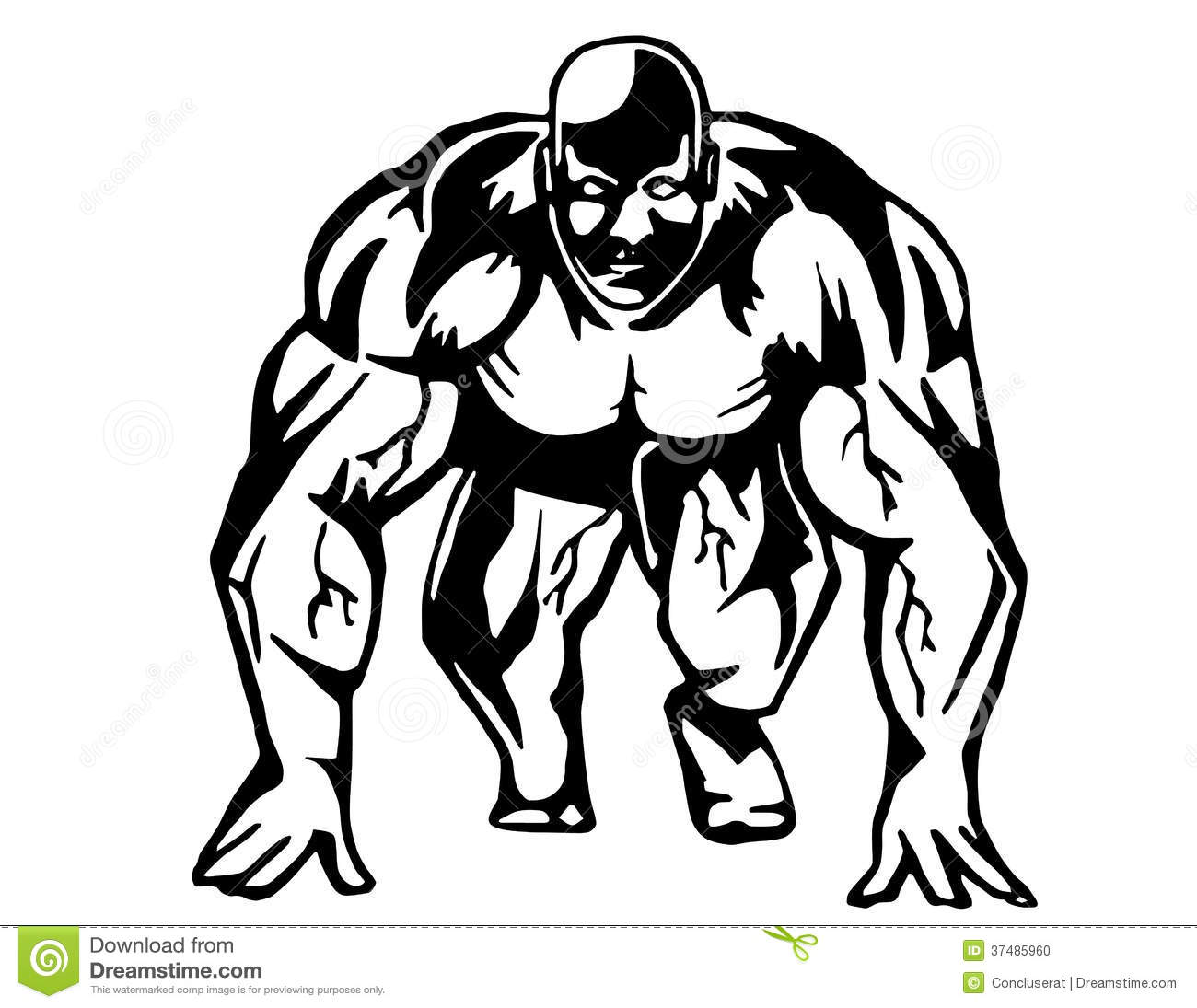 Running bodybuilder is hand drawn and live traced. Fills and outlines ...
