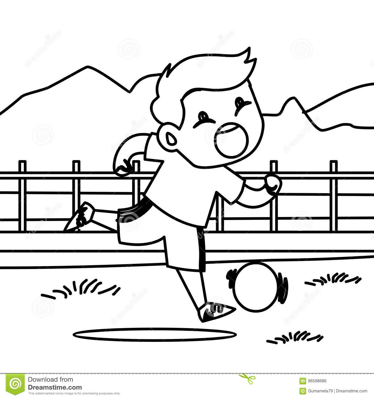 Download Running Boy With A Ball Coloring Page Stock Illustration