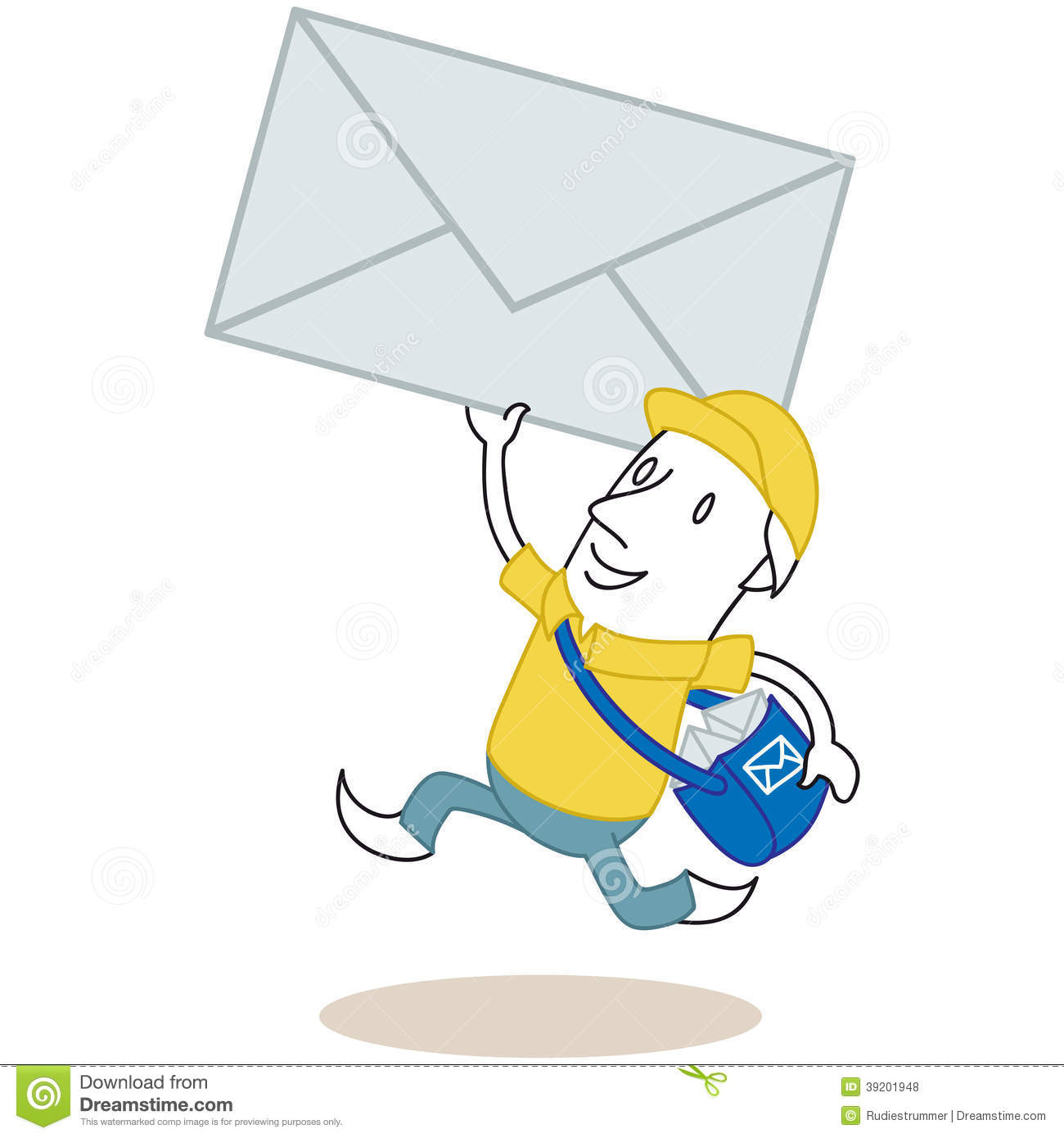 Running Cartoon Mailman With Envelope Stock Vector