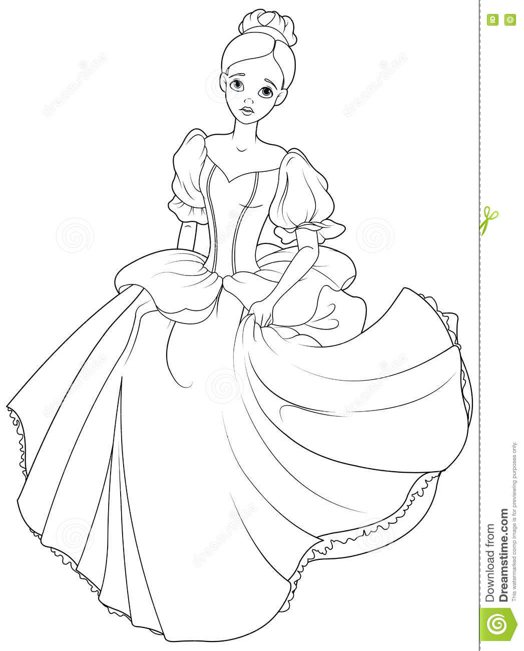 Running Cinderella Coloring Page Stock Vector - Illustration of ...