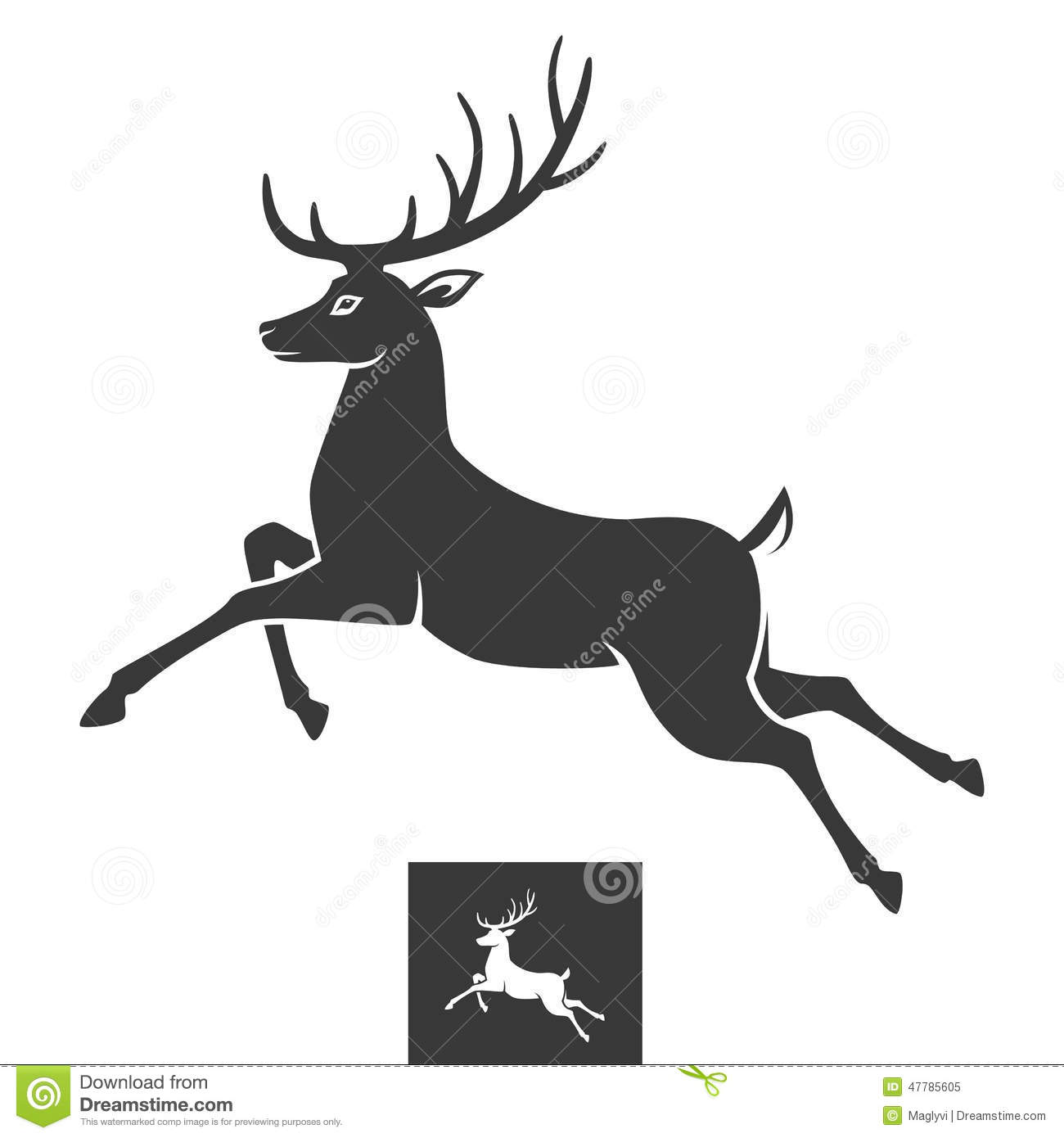 Deer illustration black and white - photo#25