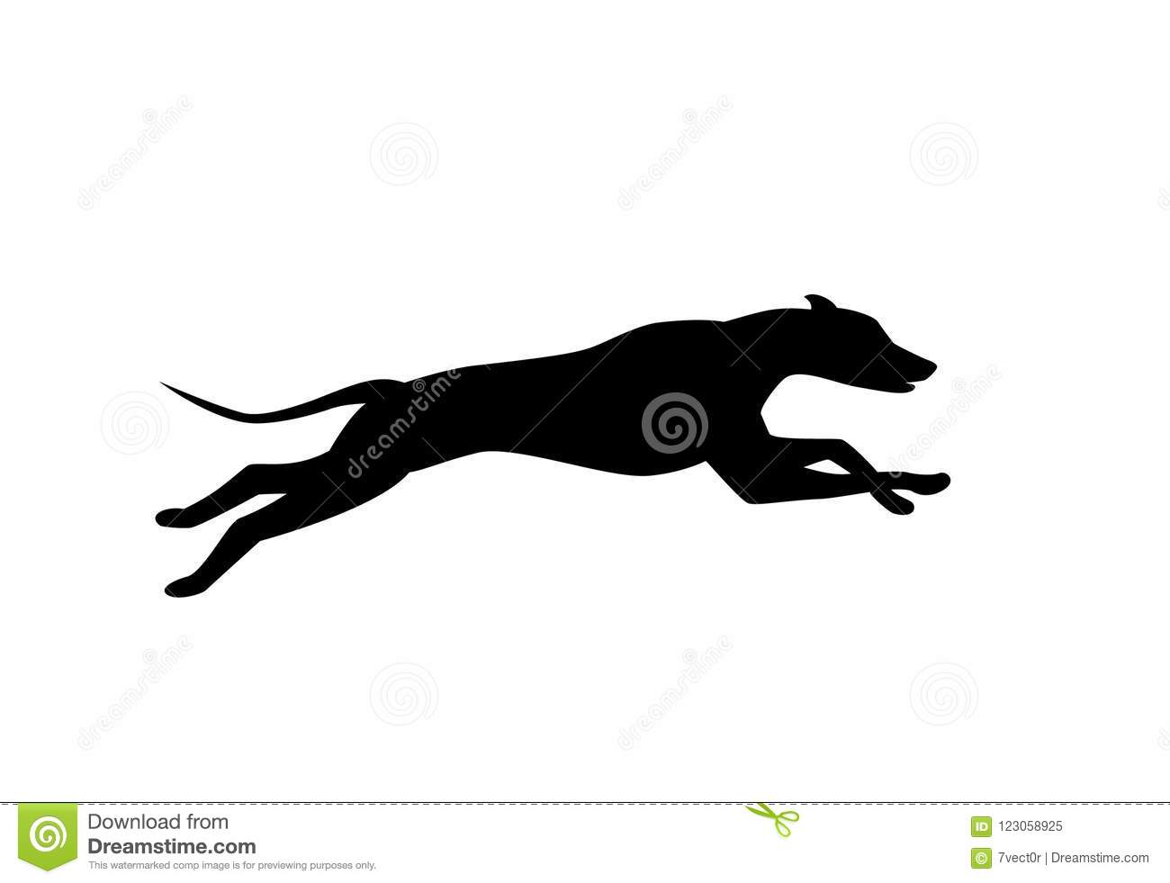 Running dog silhouette in black color