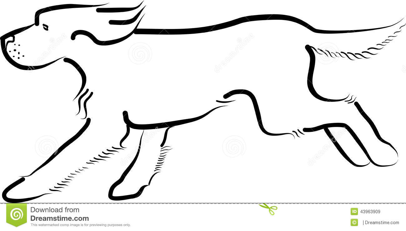 Running dog outline - photo#7