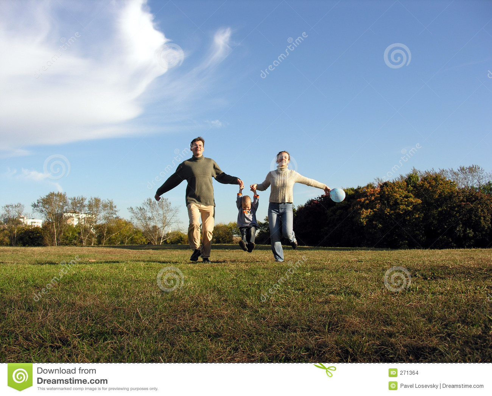 Running family autumn