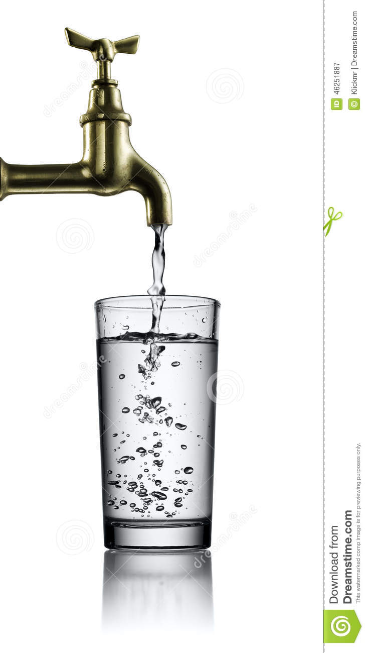Running Faucet And Glass Of Water Stock Image - Image of freshness ...