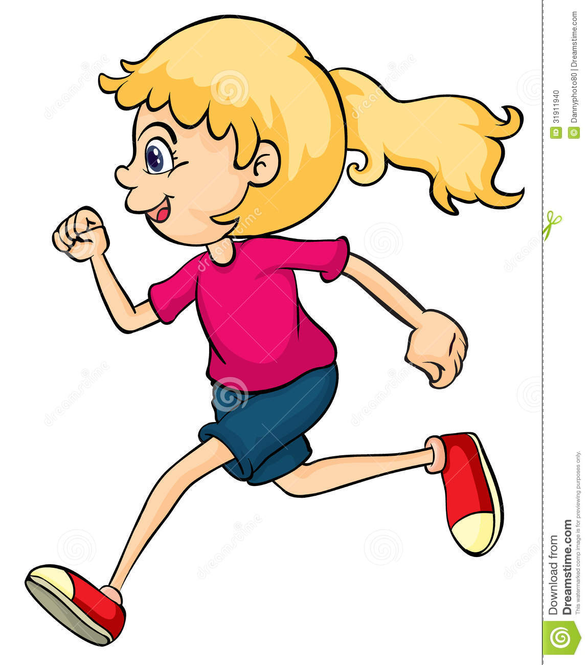 A running girl stock vector. Illustration of people ...