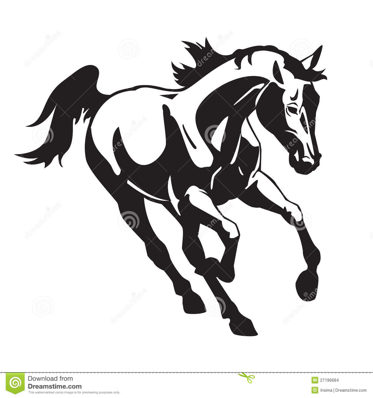 Running Horse Black And White Stock Vector Illustration
