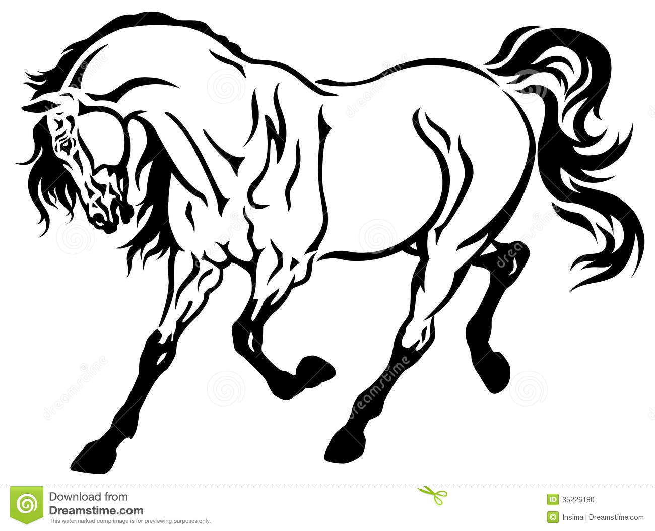 Running Horse Black White Stock Vector Illustration Of Strong 35226180