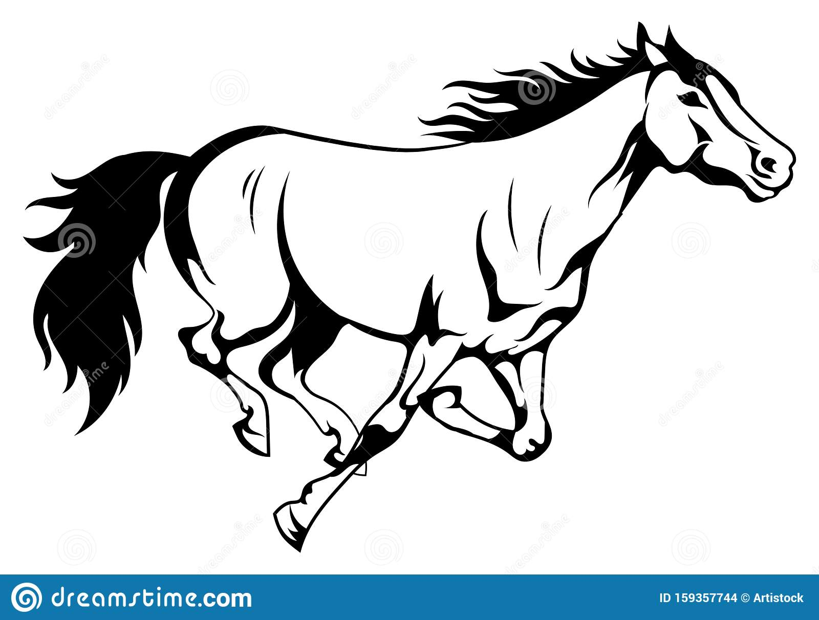 Running Horse Black And White Vector Illustration Of Running Wild Mustang Silhouette Of A Farm Animal Tattoo Stock Vector Illustration Of Wilderness Tribal 159357744