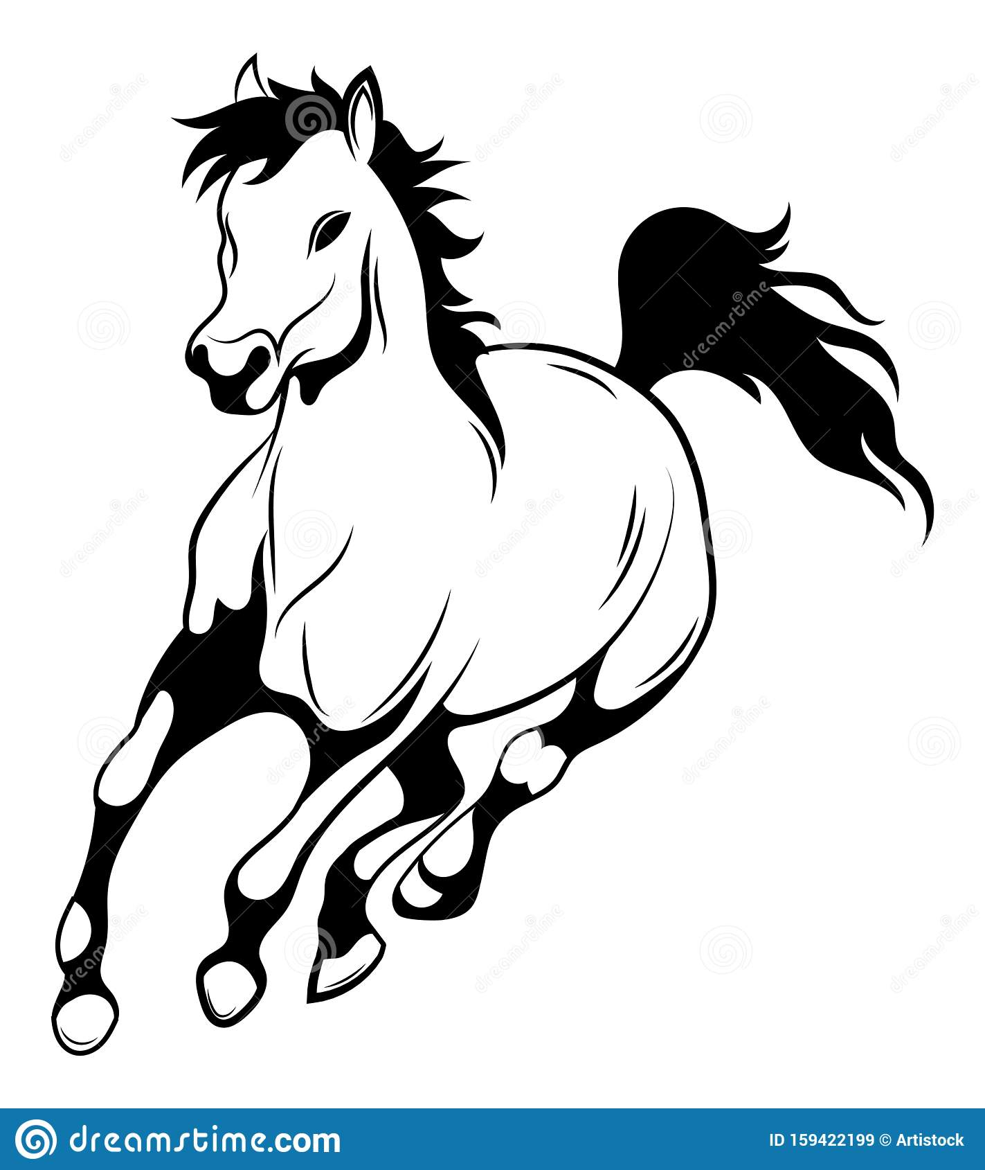 Running Horse Black And White Vector Illustration Of Running Wild Mustang Silhouette Of A Farm Animal Tattoo Stock Vector Illustration Of Design Equestrian 159422199