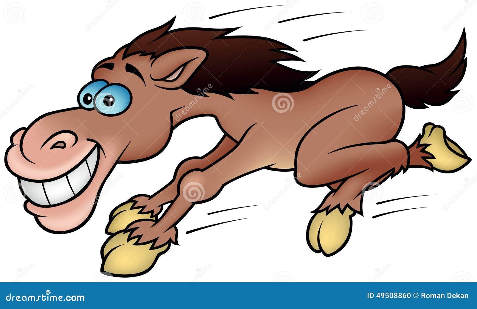 Running Horse - Colored Cartoon Illustration, Vector.