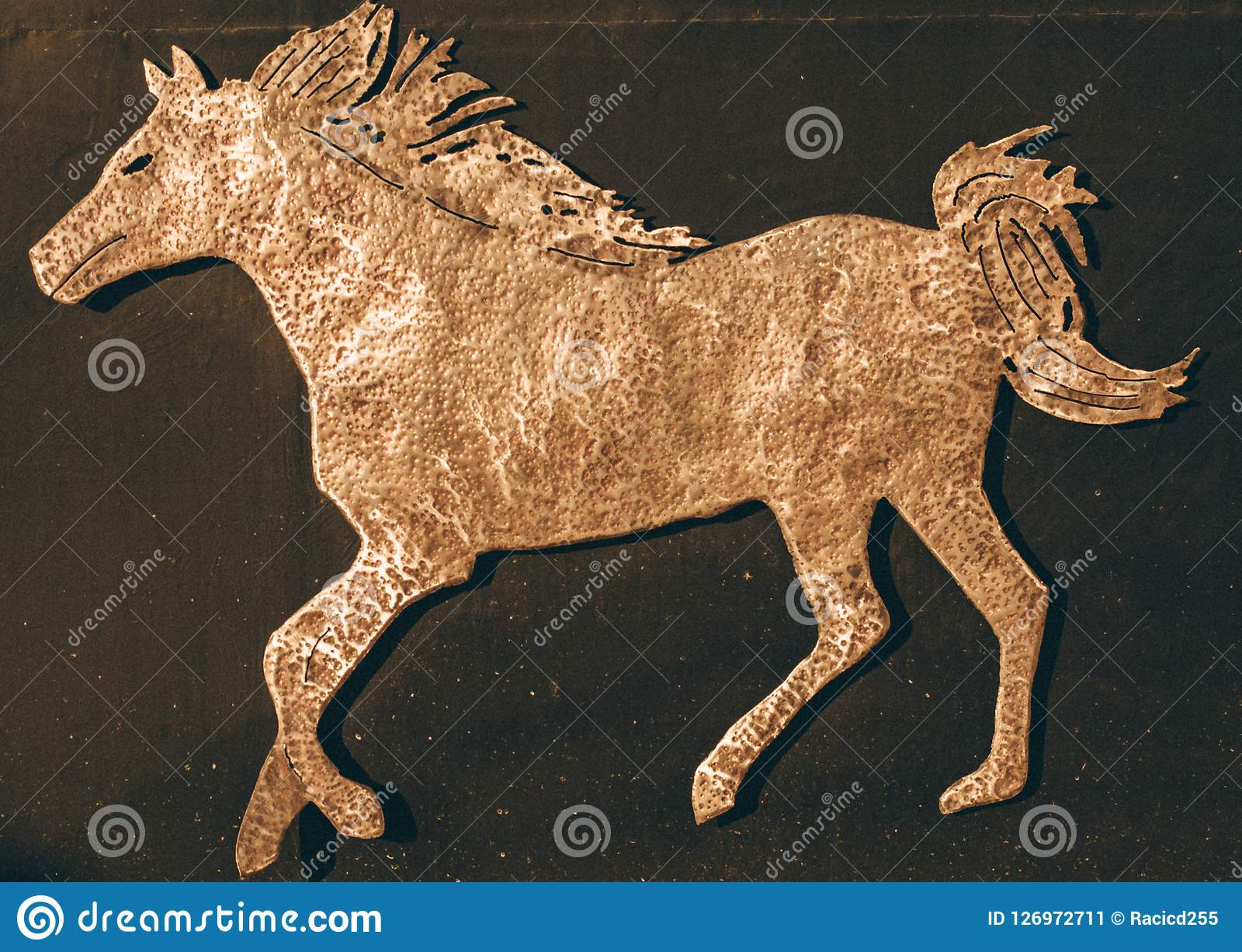 Running Horse Gold Colored Symbol Of The Horse Stock Image Image Of Background Equine 126972711
