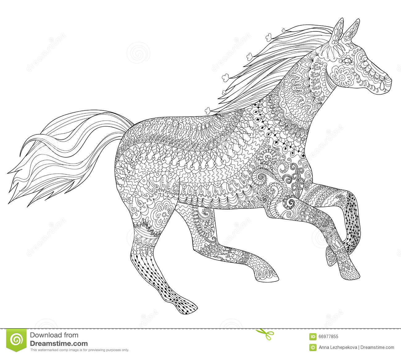 Running Horse With High Details Stock Vector - Image: 66977855