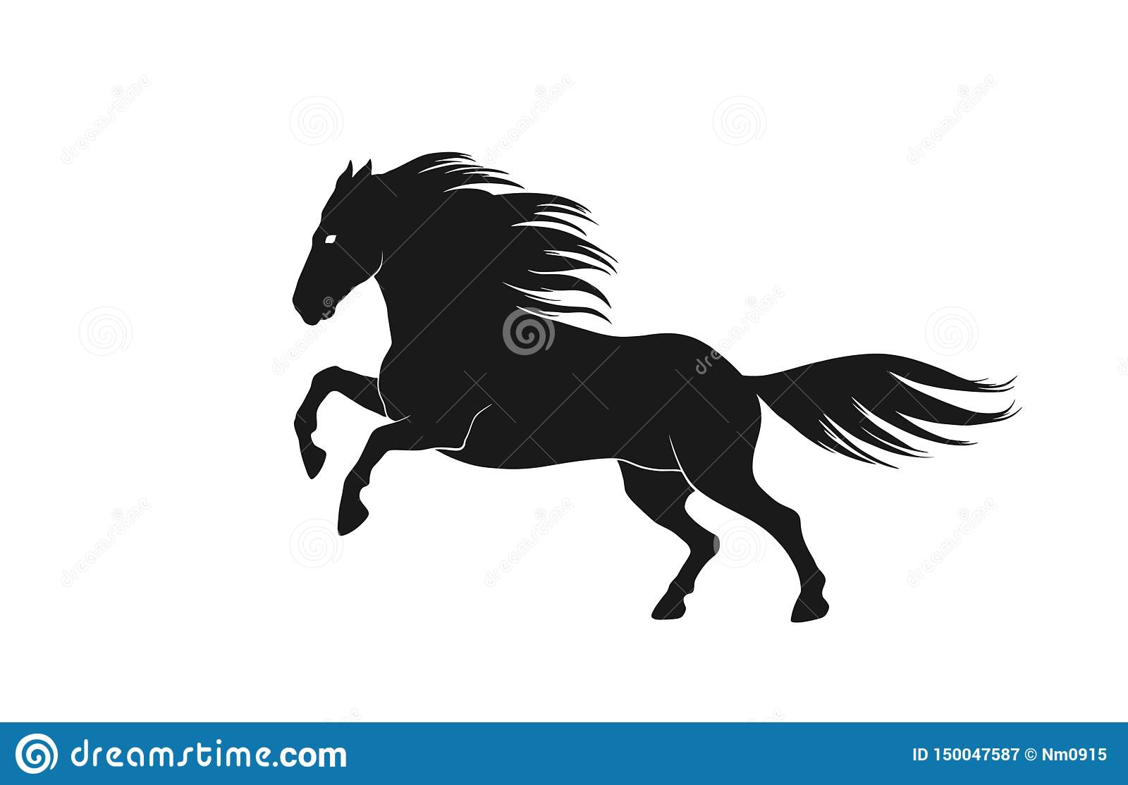 Running Horse Silhouette Side View Isolated Vector Image Of Animal Stock Vector Illustration Of Graphic Mane 150047587