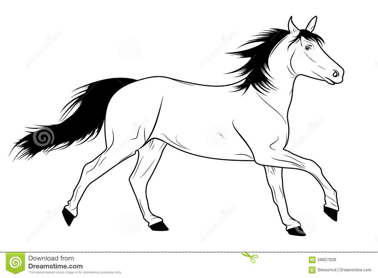 Horse Face Line Drawing : Running horse sketch stock vector image