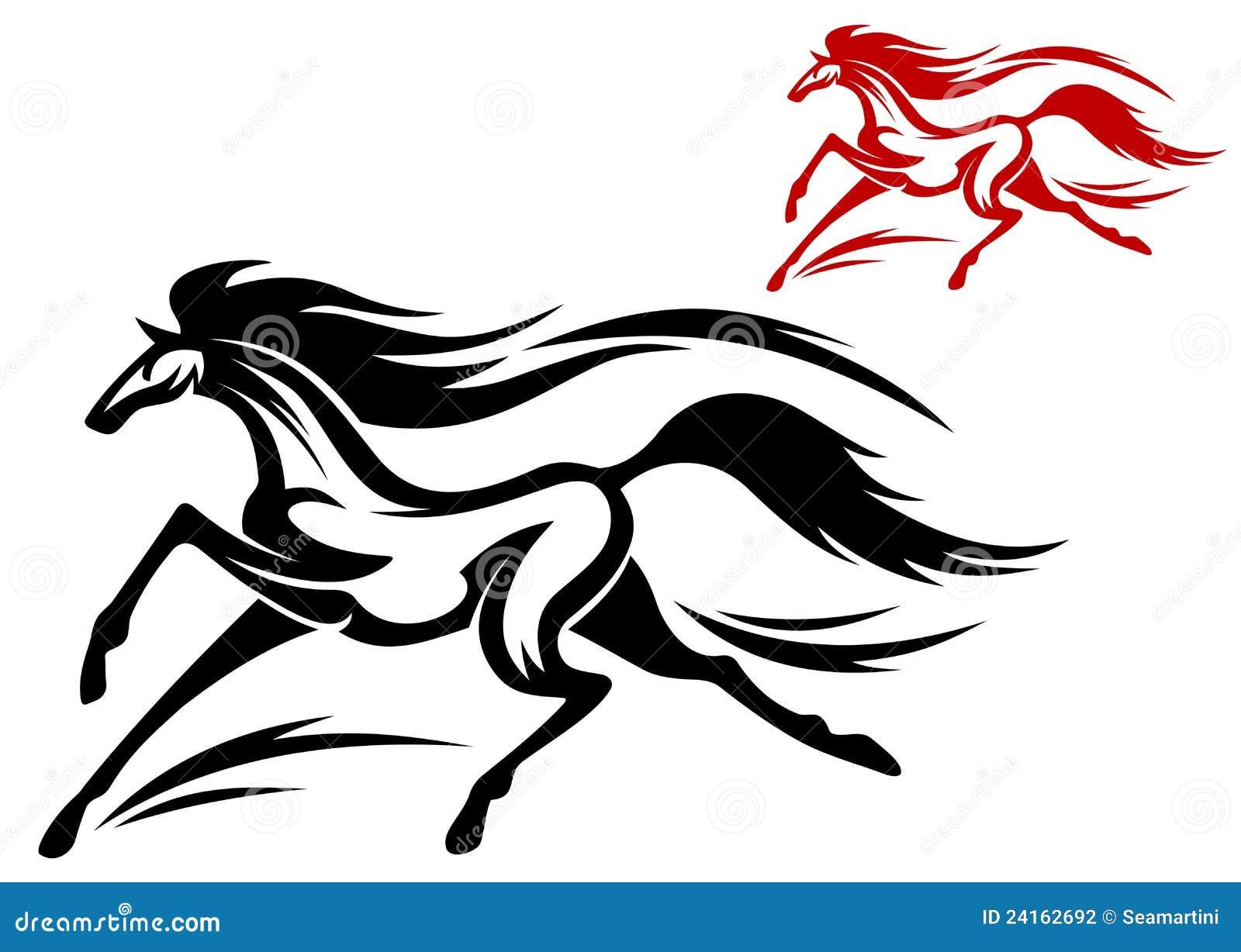 Running Horse Tattoo Stock Vector Illustration Of Beautiful 24162692