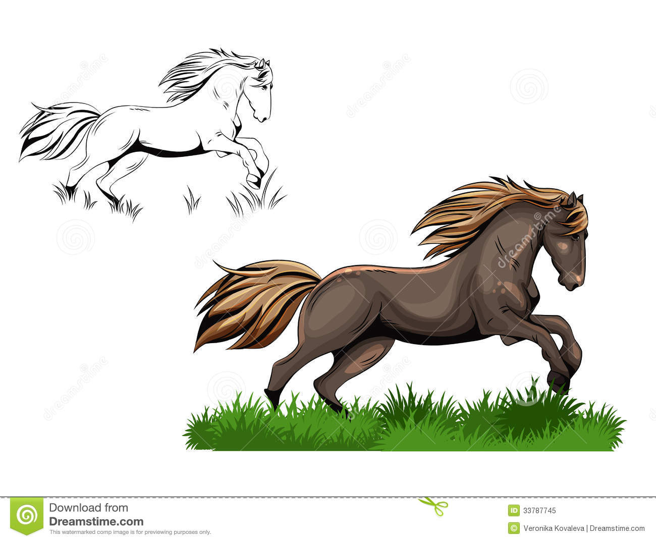 Running arabian horse drawing - photo#28