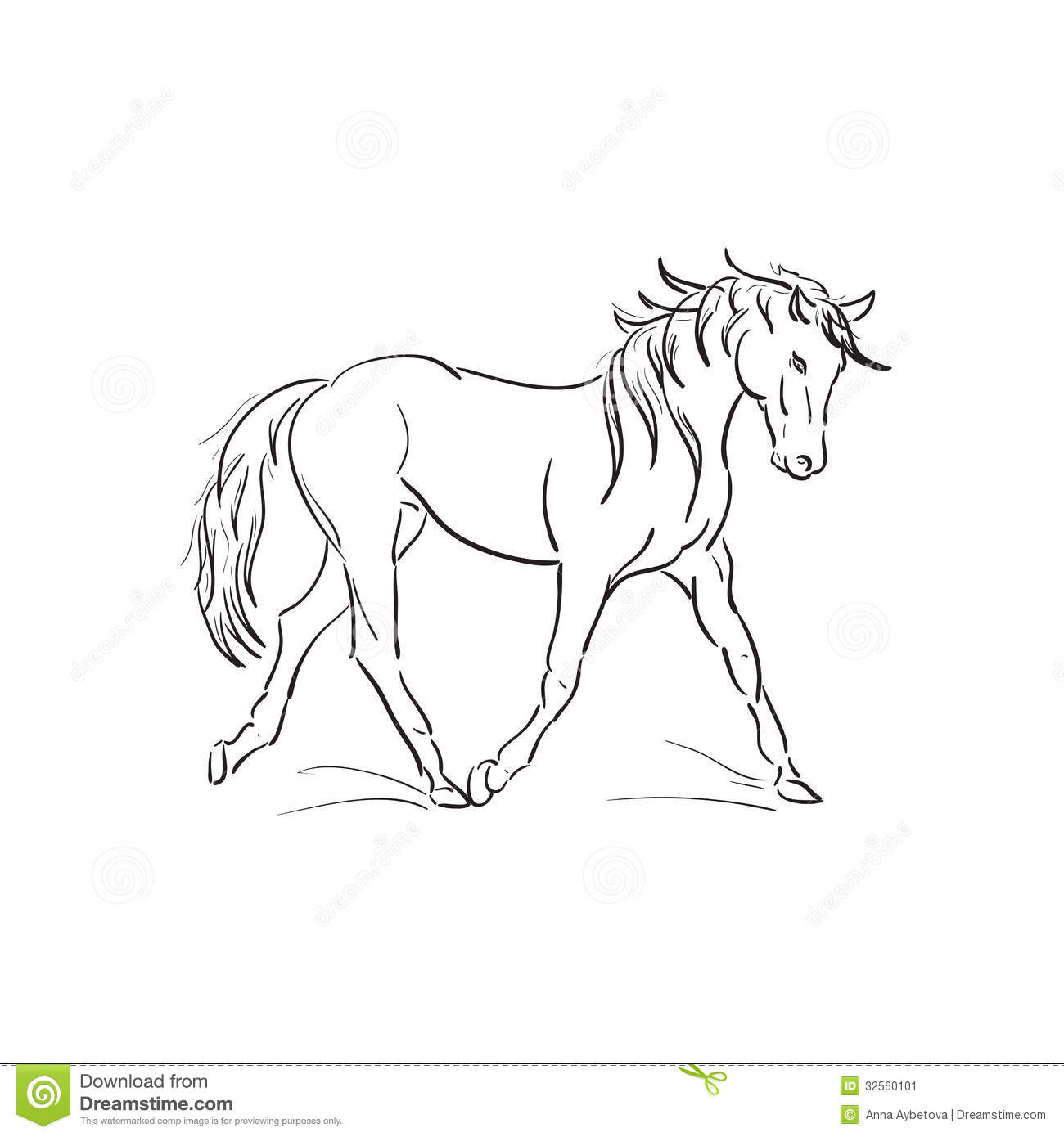 Running Horse Vector Outline Stock Image Image 32560101
