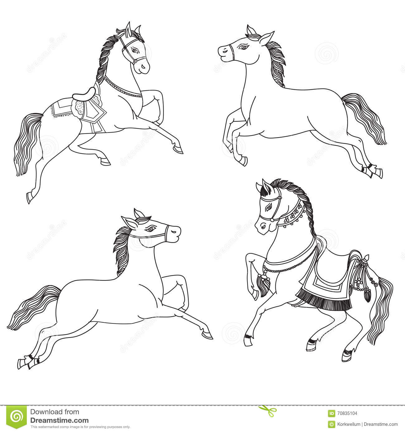Running Horse Vector On A White Background Outline Drawing Horses Arabian Horses In Native Costume Stock Vector Illustration Of Graphic Isolated 70835104