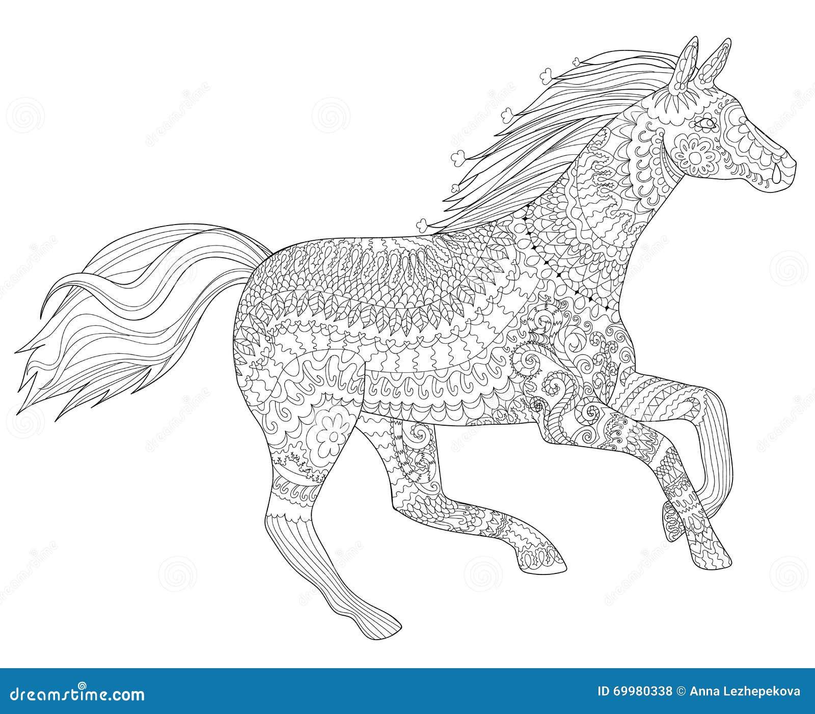 Running Horse In Zentangle Style Stock Vector