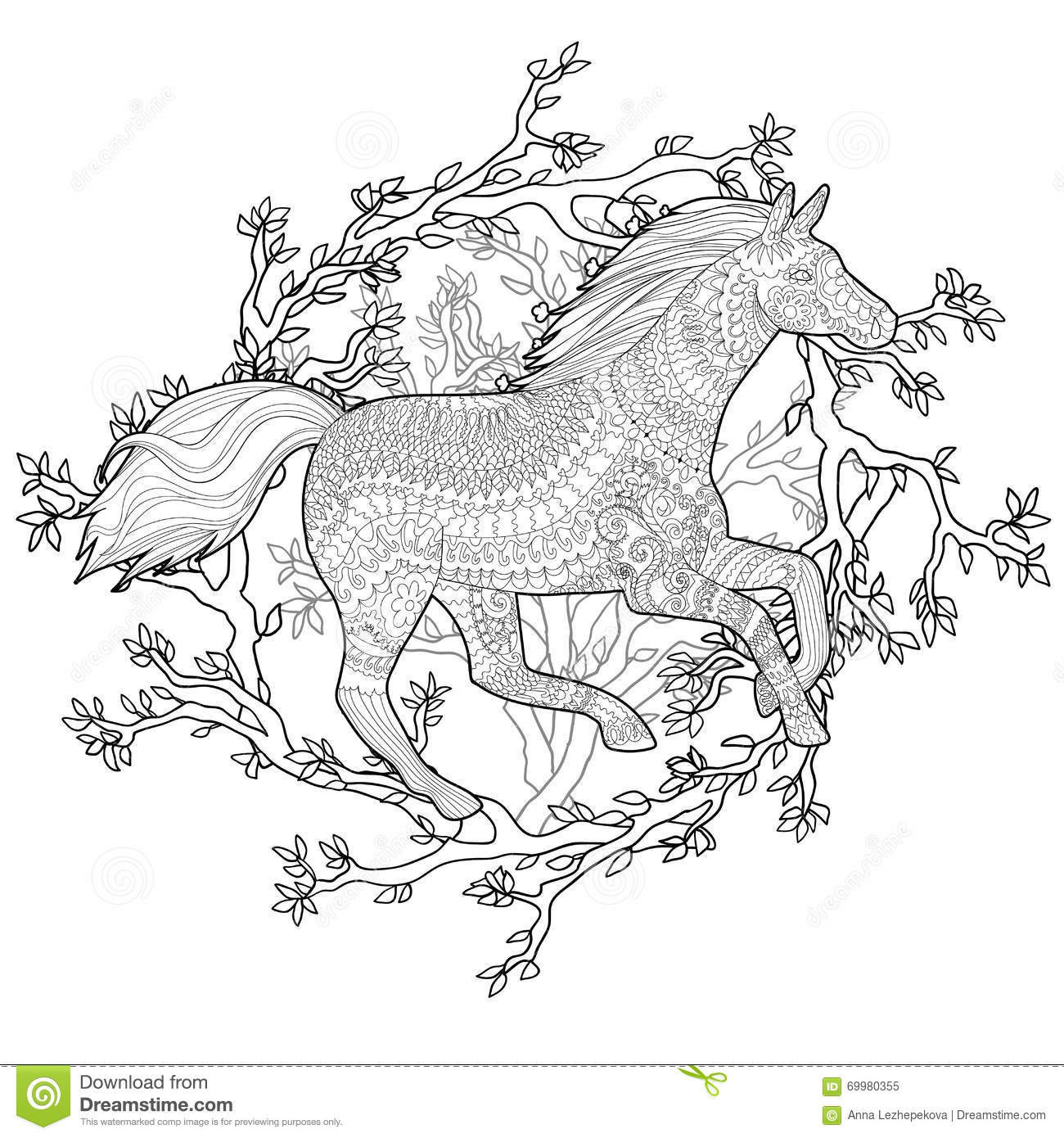 Running horse in zentangle style stock vector illustration of adult coloring page for antistress art therapy running horse in zentangle style template for t shirt tattoo poster or cover vector illustration maxwellsz