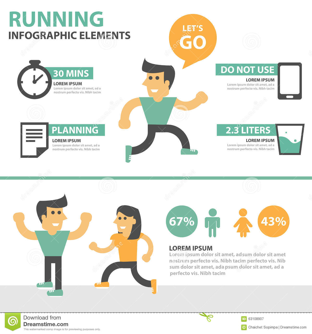 Running infographic elements cartoon presentation template for Infographic brochure template