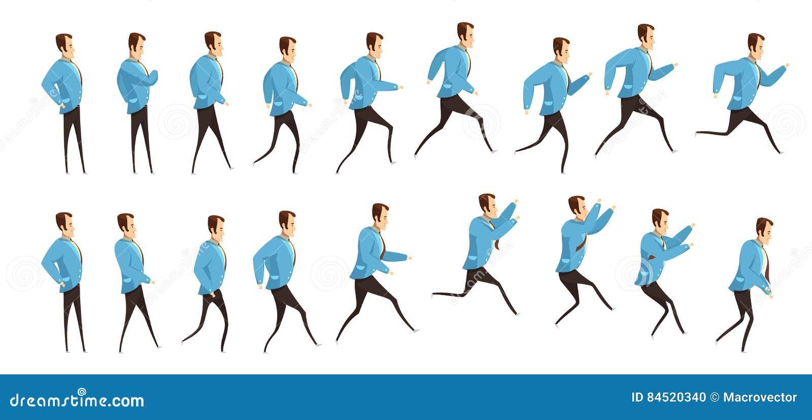 Running And Jumping Man Animation Stock Vector - Illustration of ...