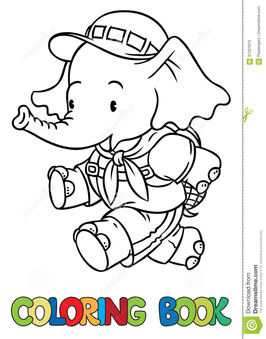 Running Little Baby Elephant. Coloring Book. Scout Stock Vector ...