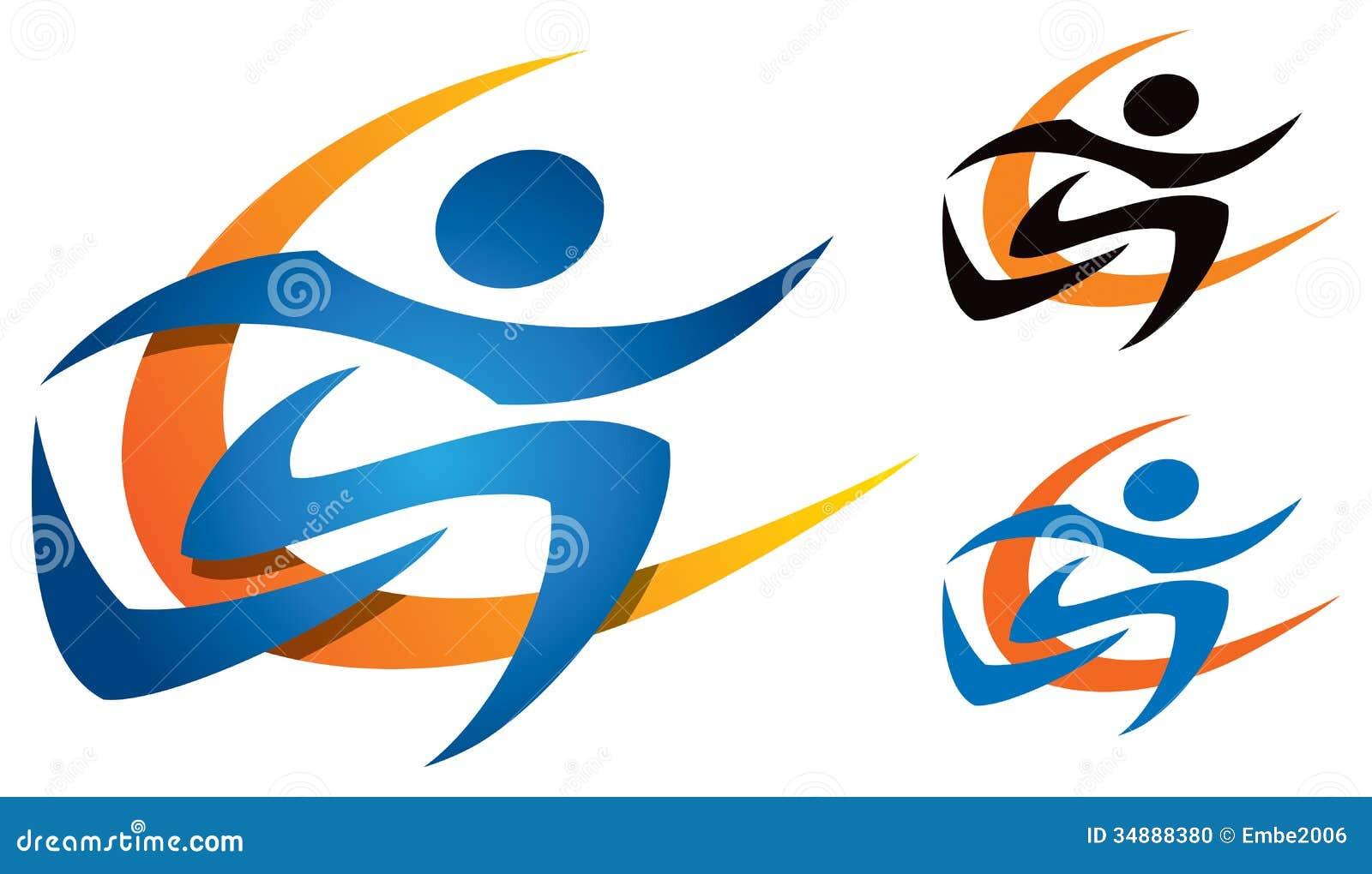 Running logo stock vector image of easy isolated line for Logo clipart