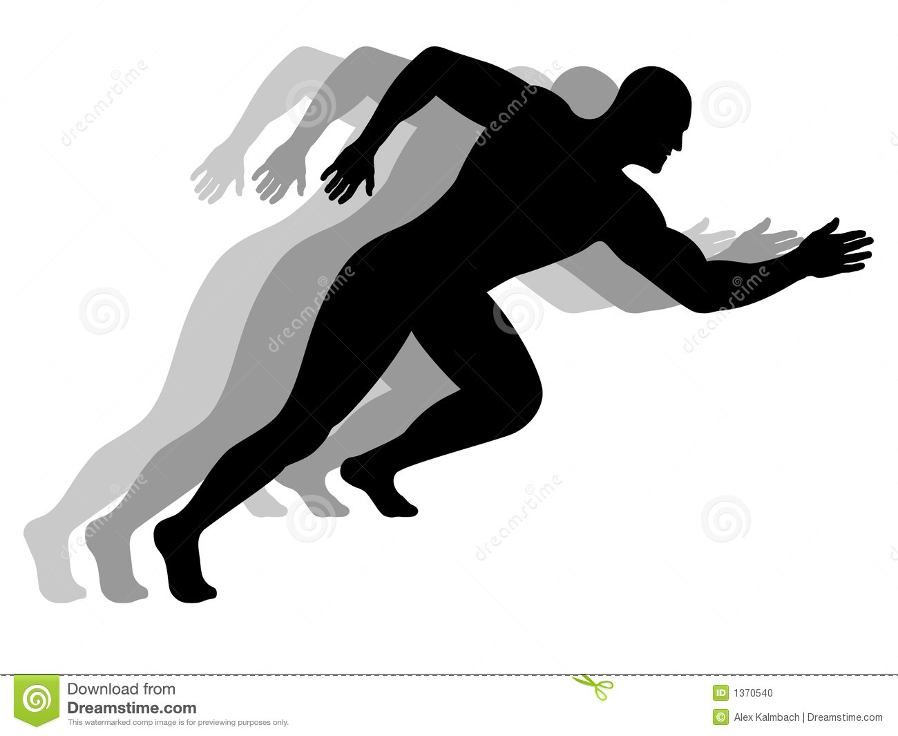 Silhouette of a running man with motion blur.