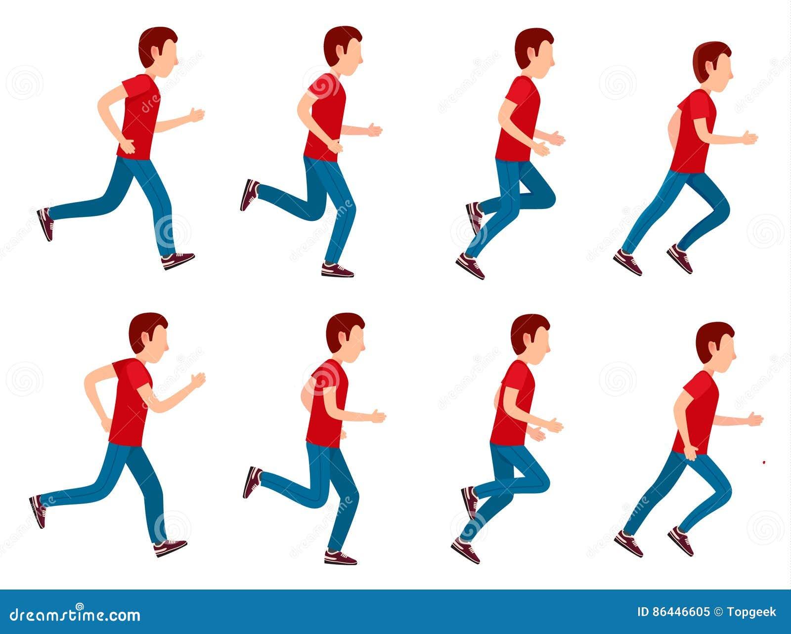 Running Man Animation Sprite Set. 8 Frame Loop. Stock Vector ...