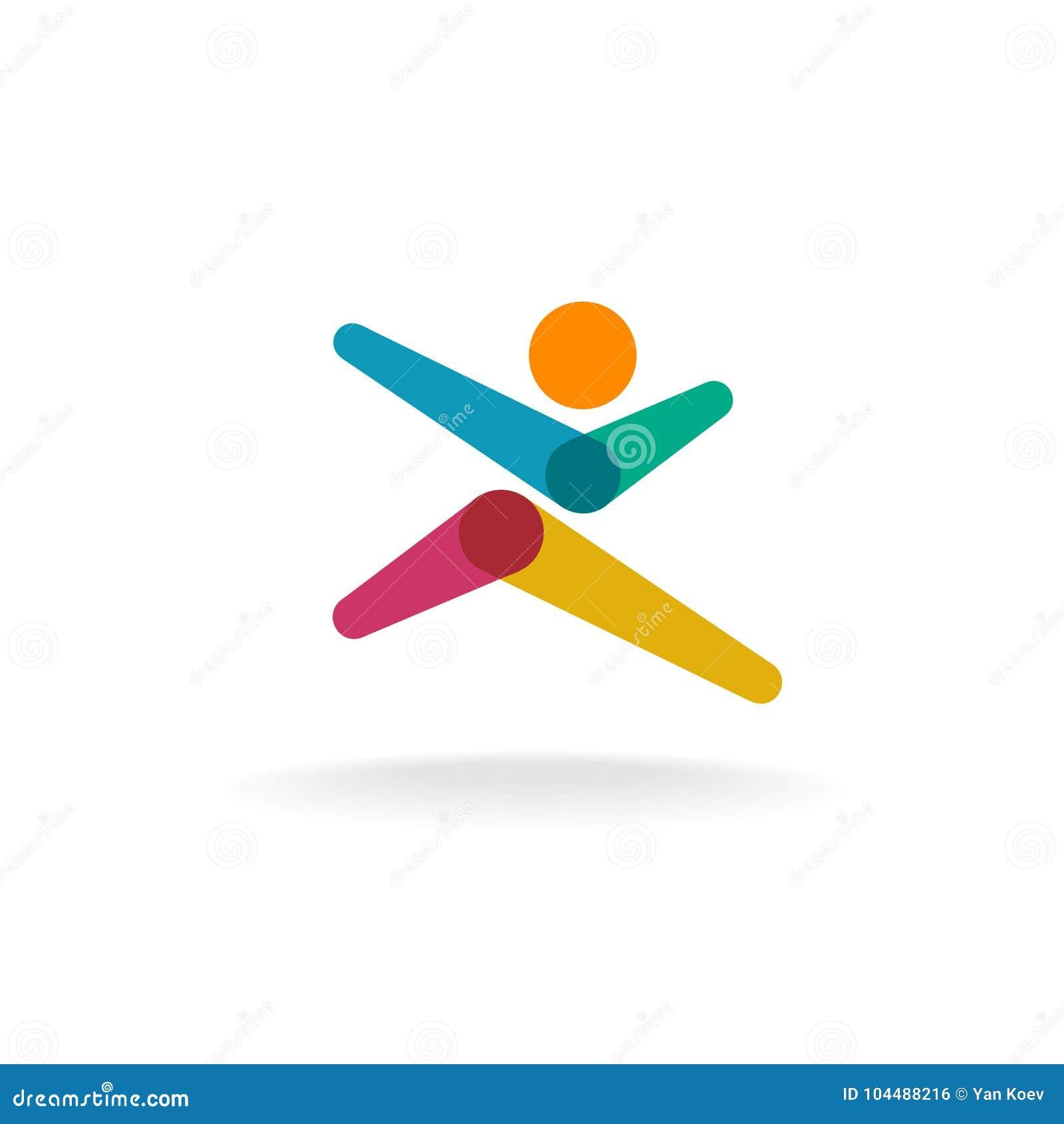 Running man colorful overlay logo.