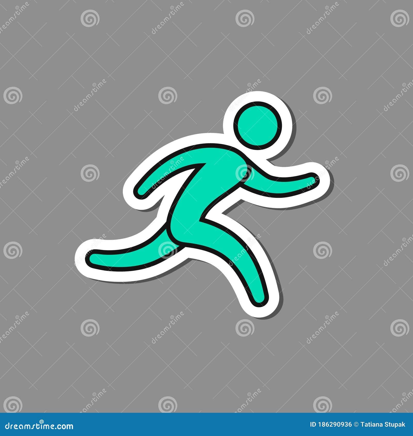 Running Man Paper Sticker, Vector Label, Run Symbol Stock ...