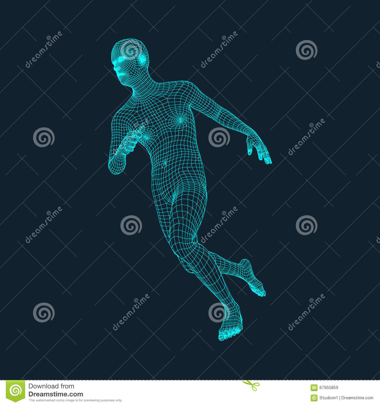 Running Man. Polygonal Design. 3D Model of Man. Geometric Design. Business, Science and Technology Vector Illustration.