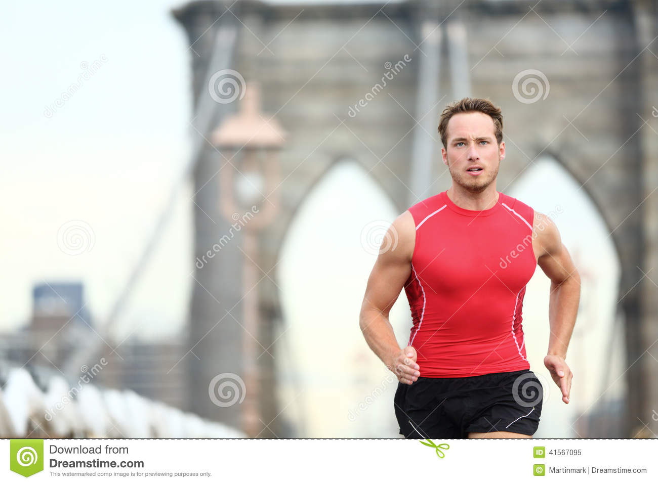 Running Man Sprinting In New York City Stock Image - Image of power