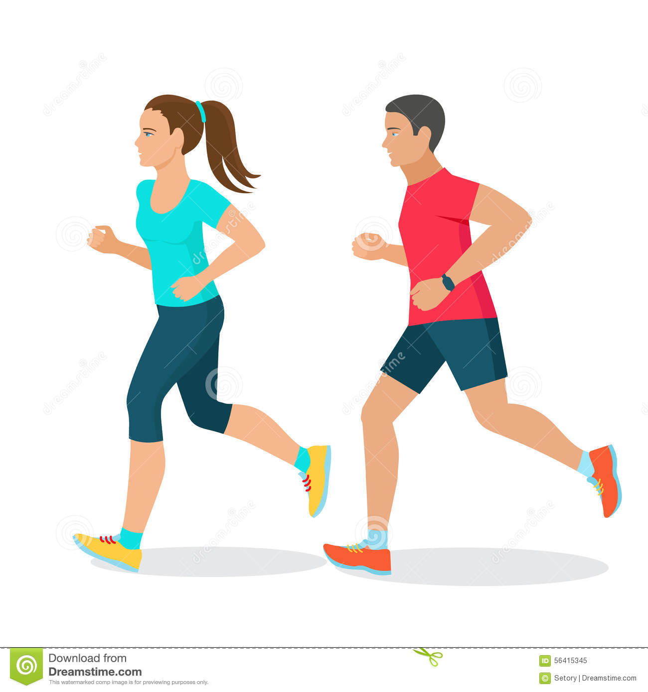 Running man and woman stock vector. Illustration of couple ...