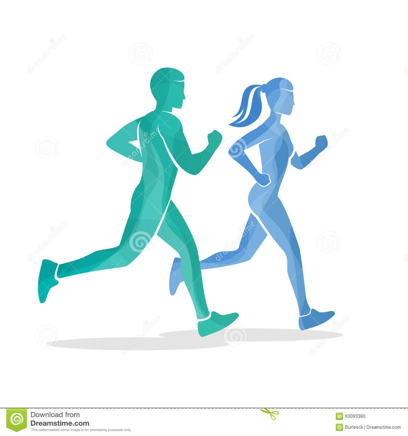 running man and woman silhouettes stock vector image