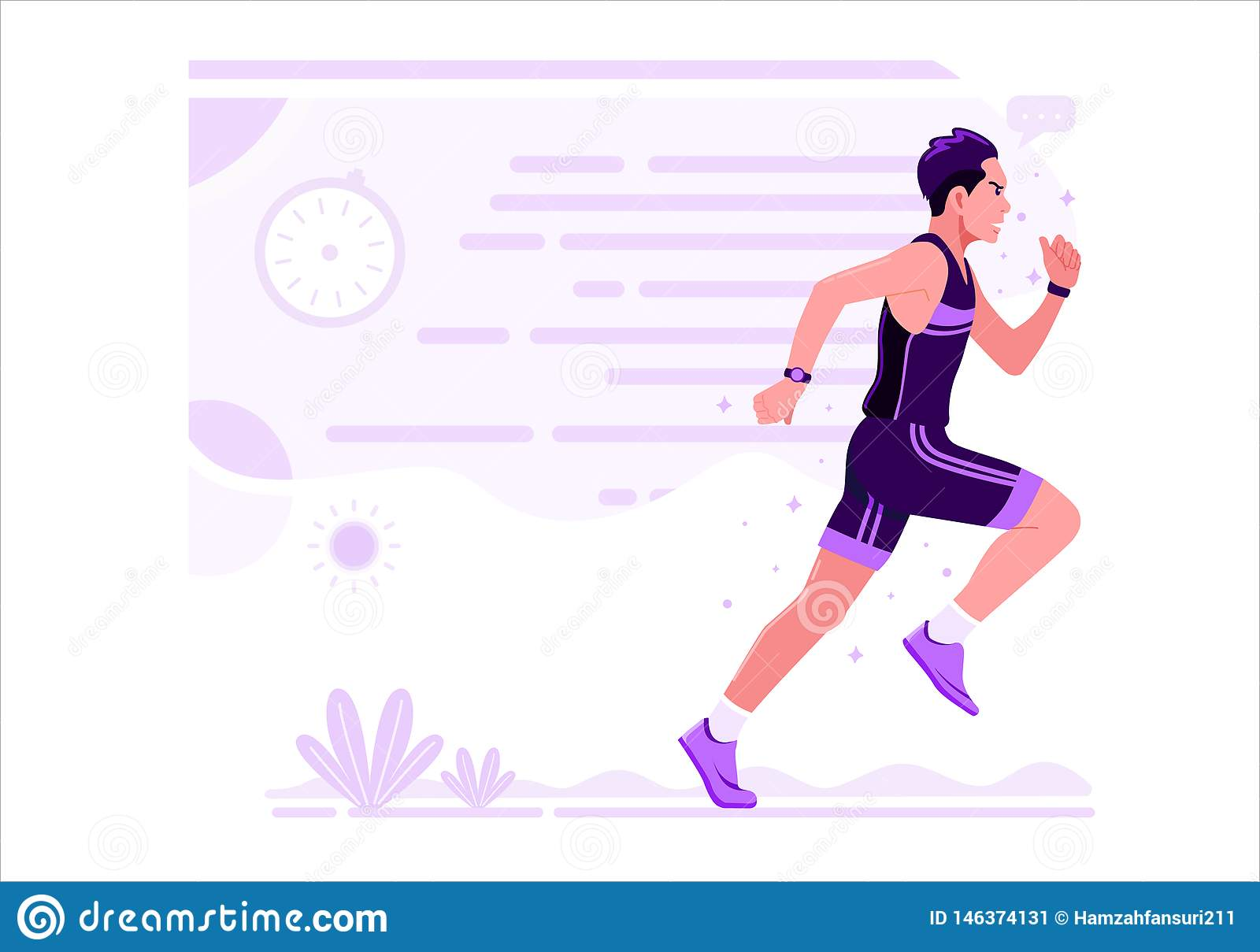 Running Men Athletic Sport vector illustration Flat Design.