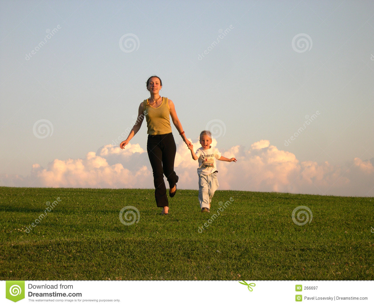 Running mother with son